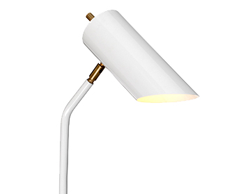 Elstead White Grey Floor Lamp, White/Aged Brass Finish - QUINTO/FL WAB