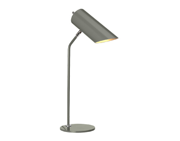 Elstead Quinto Grey Table Lamp, Dark Grey/Polished Nickel Finish - QUINTO/TL GPN