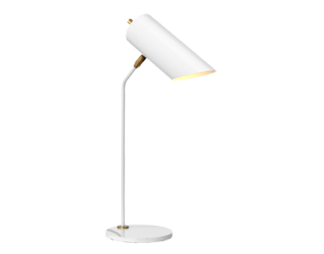 Elstead Quinto White Table Lamp, White/Aged Brass Finish - QUINTO/TL WAB