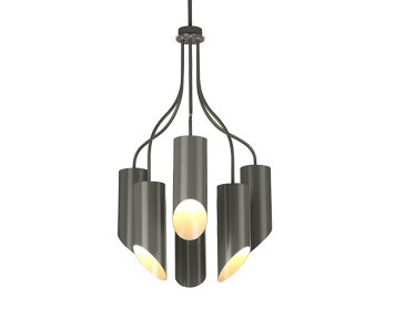 Elstead Quinto Grey 6 Light Ceiling Light, Dark Grey/Polished Nickel Finish - QUINTO6 GPN