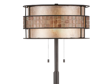 Elstead Quoizel Laguna Floor Lamp, Renaissance Copper Finish With Mica & Mosaic Tile Cylinder Shade - QZ/LAGUNA/FL/A