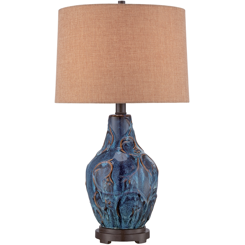 Traditional table lamps from easy lighting elstead quoizel bluefield ceramic blue table lamp with brown hardback fabric shade qzbluefield aloadofball Choice Image