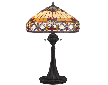 Elstead Quoizel Belle Fleur Tiffany Table Lamp, Vintage Bronze - QZ/BELLEFLEUR/TL