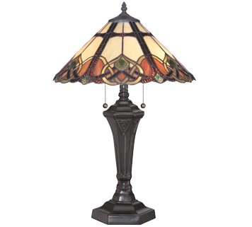 Elstead Quoizel Cambridge 2 Light Tiffany Style Table Lamp, Vintage Bronze Finish - QZ/CAMBRIDGE/TL