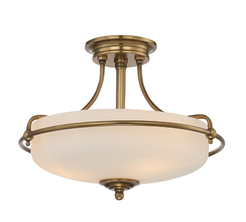 Elstead Quoizel Griffin 3 Light Semi Flush Ceiling Light, Weathered Brass - QZ/GRIFFIN/SFSWS
