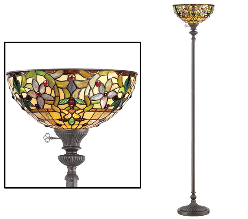 Elstead Quoizel Kami Uplighter Floor Lamp Tiffany Glass