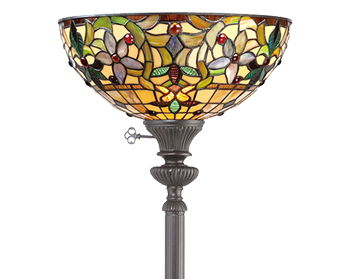 Elstead Quoizel Kami Uplighter Floor Lamp, Tiffany Glass - QZ/KAMI/UL