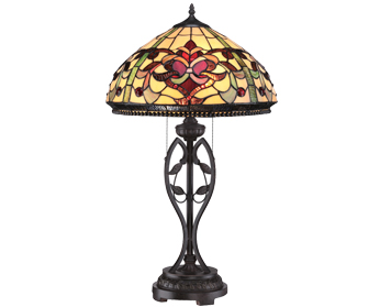 Elstead Quoizel Kings Pointe 2 Light Tiffany Table Lamp, Imperial Bronze - QZ/KINGS POINTE