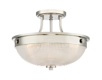 Elstead Quoizel Mantle 2 Light Semi-Flush Ceiling Light, Imperial Silver Finish - QZ/MANTLE/SF IS