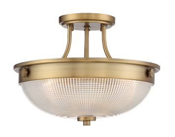 Elstead Quoizel Mantle 2 Light Semi-Flush Ceiling Light, Weathered Brass Finish - QZ/MANTLE/SF WS