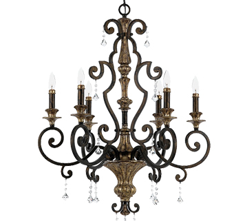 Elstead Quoizel Marquette 6 Light Multi Arm Crystal Ceiling Light, Heirloom Finish - QZ/MARQUETTE6/A