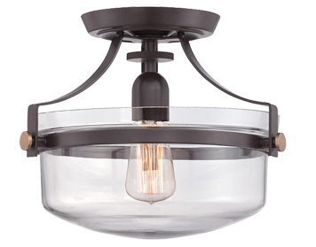Elstead Quoizel Penn Station 1 Light Semi Flush Ceiling Light, Western Bronze - QZ/PENNSTAT/F WT