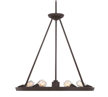 Elstead Quoizel Theater Row 6 + 1 Light Ceiling Pendant, Western Bronze Finish - QZ/THEATERROW6WT