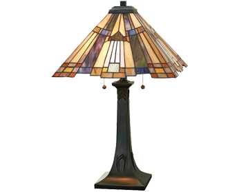 Elstead Quoizel Inglenook Tiffany Table Lamp, Valiant Bronze - QZ/INGLENOOK/TL