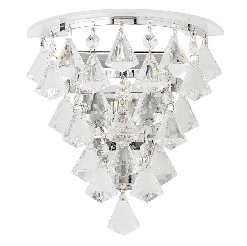 Endon Renner 1 Light Chrome Wall Bracket With Crystal Drops - RENNER-1WBCH from Easy Lighting