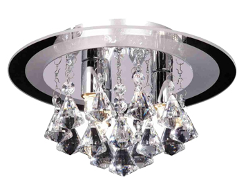 Endon Renner Small Flush Ceiling Light, Chrome Plate Finish With Clear Crystal Glass - RENNER-3CH