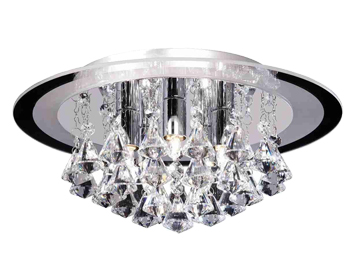 Endon Renner Medium Flush Ceiling Light, Chrome Plate Finish With Clear Crystal Glass - RENNER-5CH