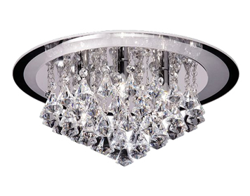Endon Renner Large Flush Ceiling Light, Chrome Plate Finish With Clear Crystal Glass - RENNER-6CH