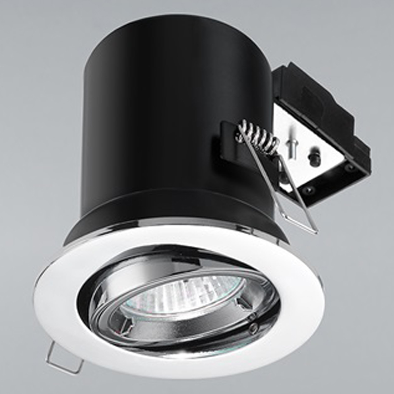 Franklite Chrome Fire Rated & Acoustic 25 Degree Tilt Downlight - RF293