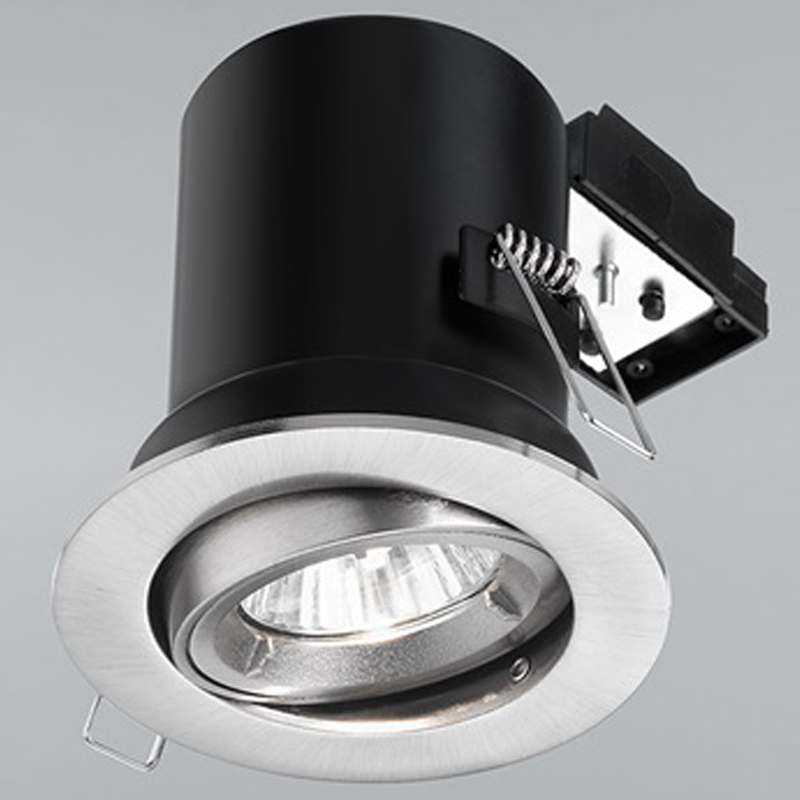 Franklite Satin Nickel Fire Rated & Acoustic 25 Degree Tilt Downlight - RF295