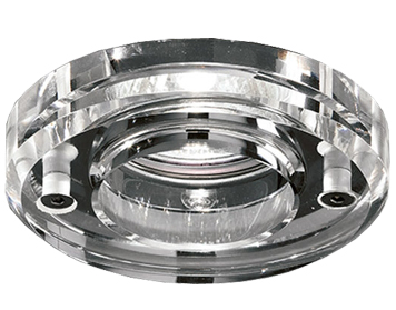 Franklite Round Crystal Downlight, Chrome With Heavy Crystal Glass - RF308