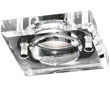 Franklite Square Crystal Downlight, Chrome With Heavy Crystal Glass - RF309