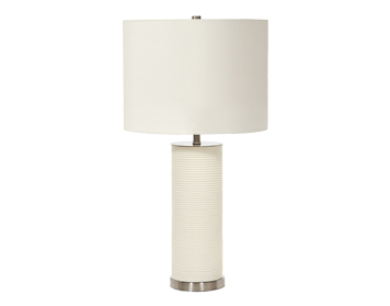 Elstead Ripple 1 Light Table Lamp White Finish With White Shade - RIPPLE/TL WHT