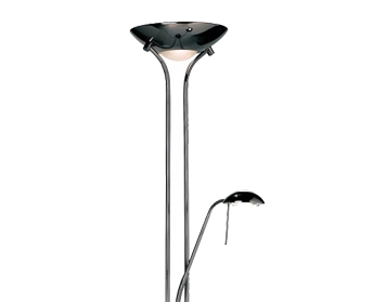 Endon Rome Mother & Child Floor Lamp, Black Chrome Finish With Opal Glass - ROME-BC