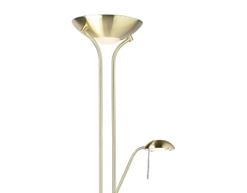 Endon Rome Mother & Child Floor Lamp, Satin Brass Finish With Opal Glass - ROME-SB
