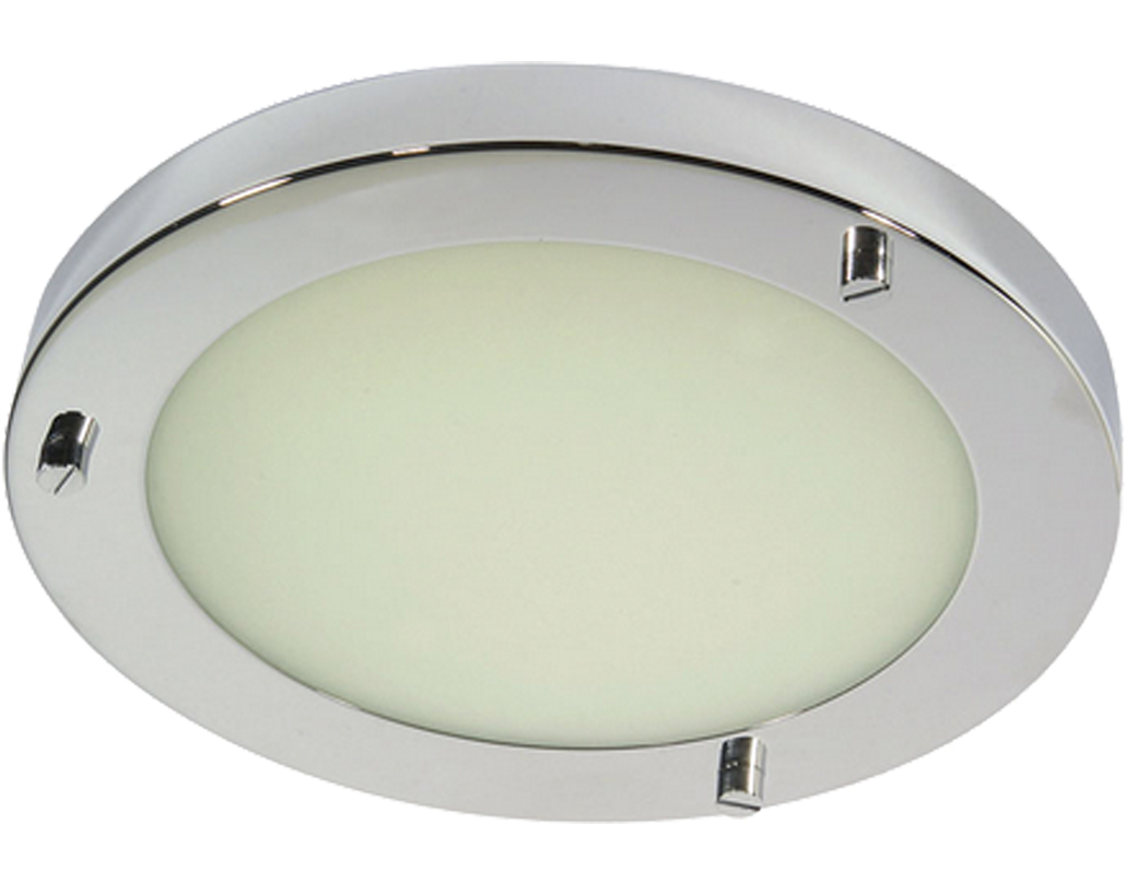 Oaks Lighting Rondo IP44 Flush Ceiling Light Polished Chrome
