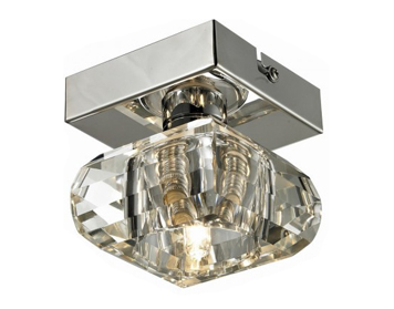 Azzardo Rubic 1 Top Flush Ceiling Light, Clear Acrylic & Chrome Finish - AZ0489