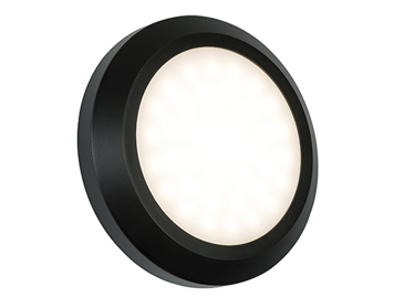 Endon Severus LED Round Outdoor Wall Light, Black ABS Plastic & Frosted Polycarbonate - SALE-61220