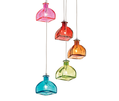 Endon Kellaway 5 Light Multi Coloured Glass Ceiling