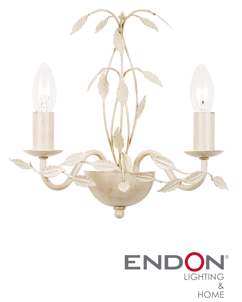 ENDON SERENADE TWIN WALL LIGHT, CREAM GOLD - SERENADE-2WBCR from Easy Lighting