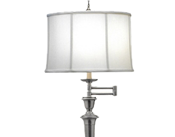 Elstead Arlington Swing Arm Floor Lamp, Antique Nickel Finish With Off-White Camelot Shade - SF/ARLINGTONAN