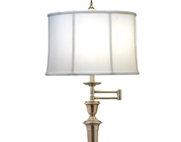 Elstead Arlington Swing Arm Floor Lamp, Burnished Brass Finish With Off-White Camelot Shade - SF/ARLINGTONBB