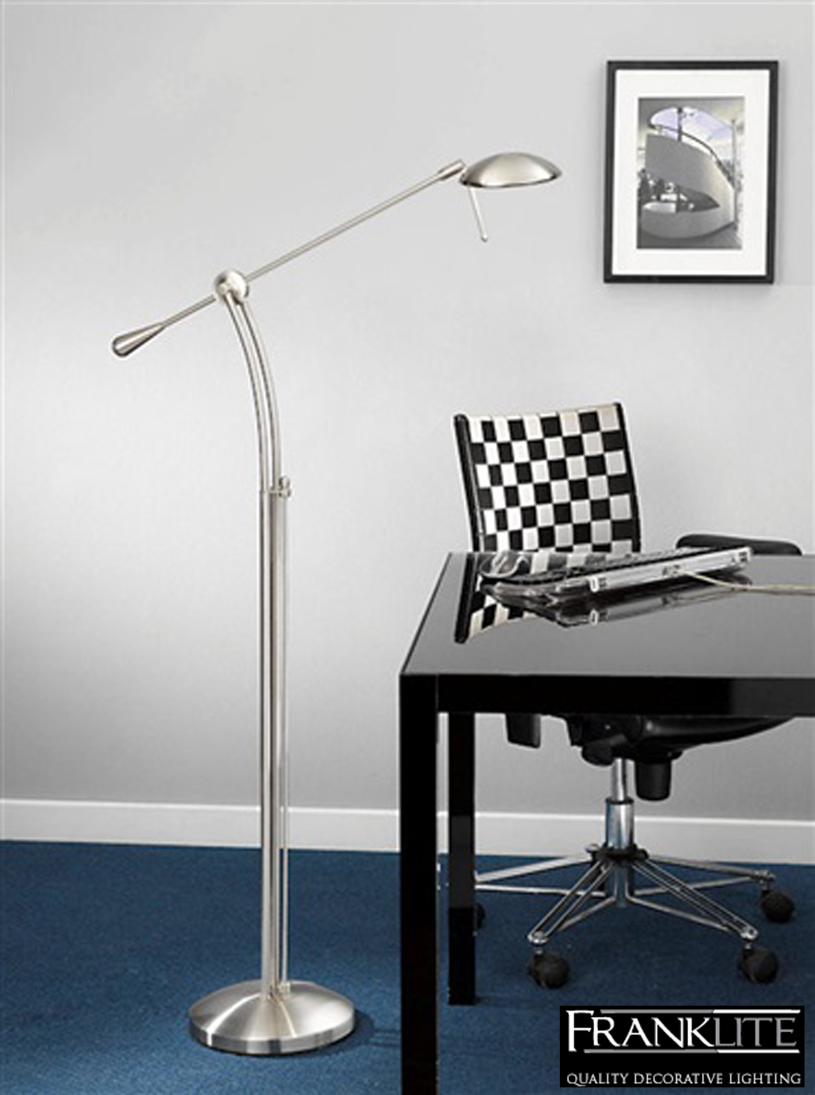 Franklite halogen floor lamp satin chrome finish with for Chrome floor lamp dimmer