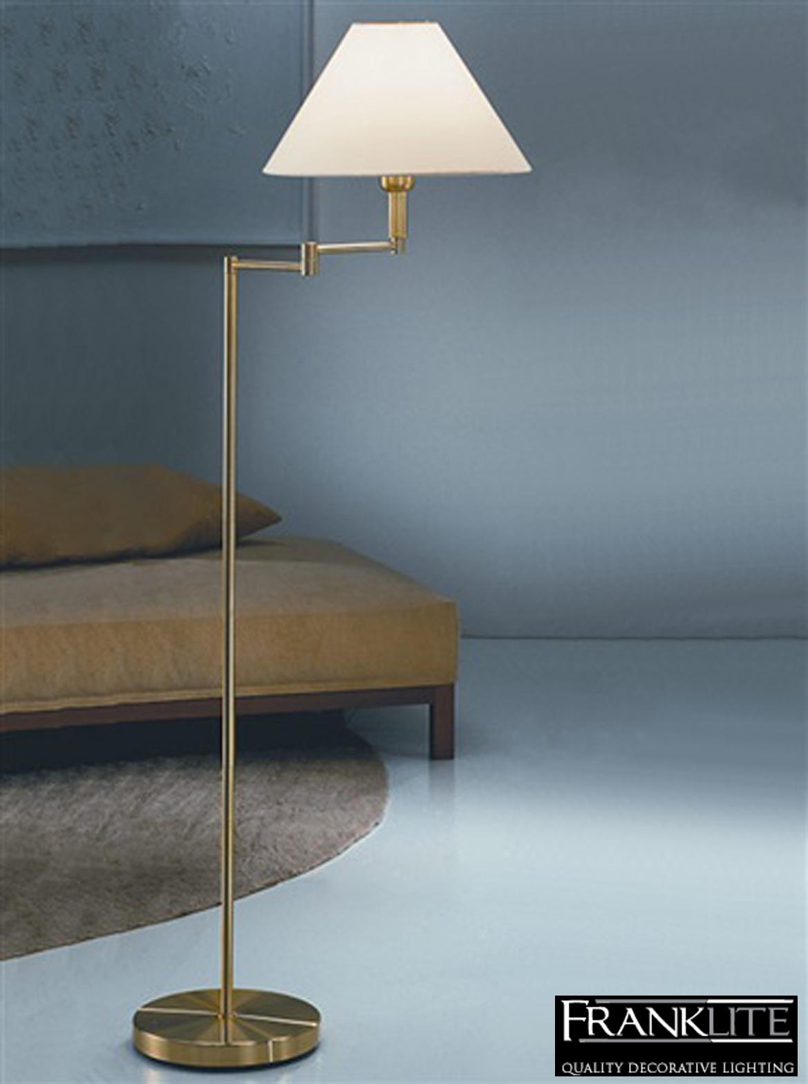 Franklite Swing Arm Floor Lamp Brass Finish With Cream
