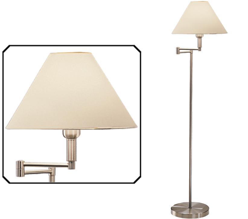 Franklite Swing Arm Floor Lamp Satin Nickel Finish With