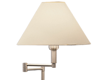 Franklite Swing Arm Floor Lamp, Satin Nickel Finish With Cream Shade - SL643