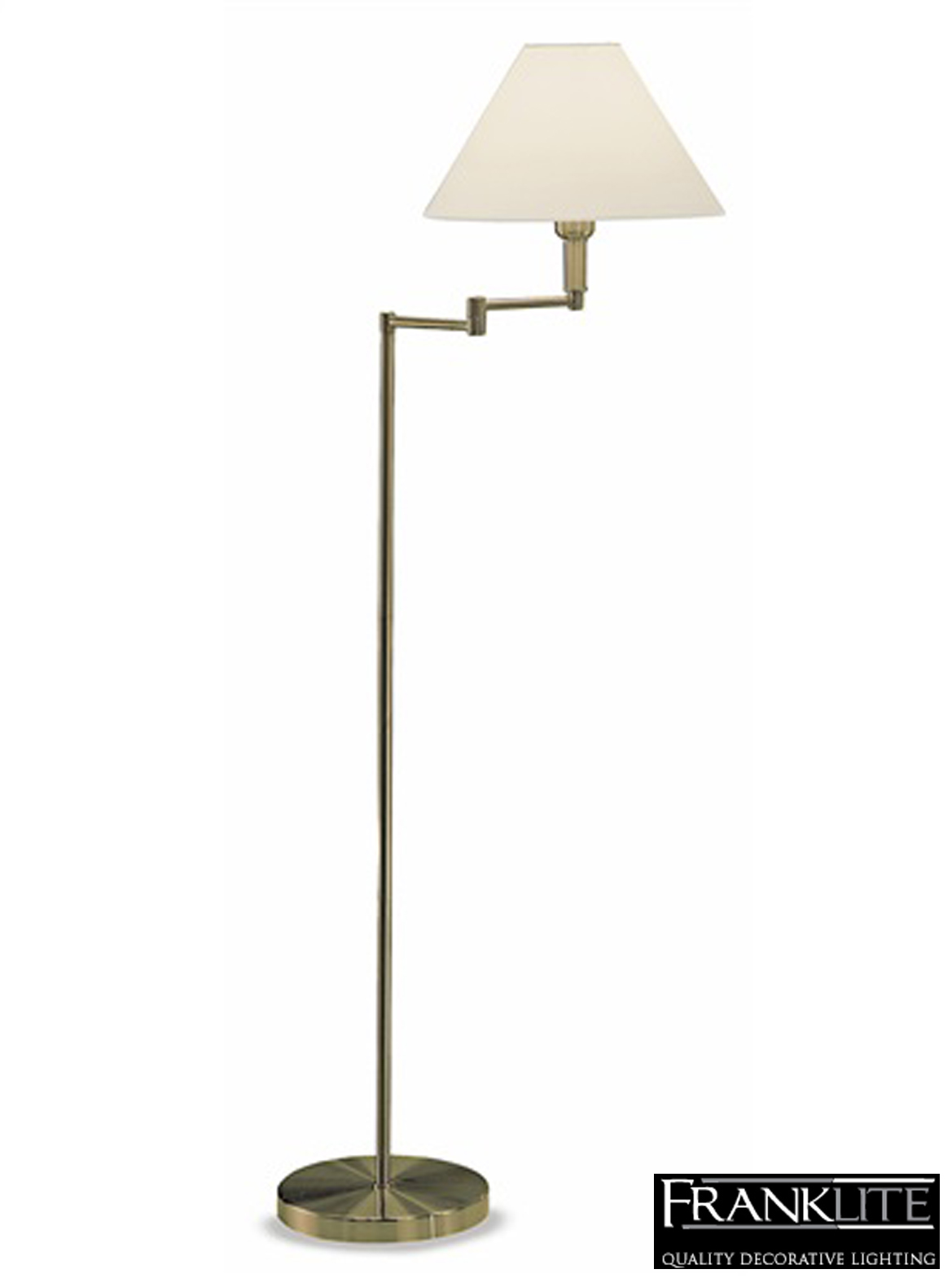 Franklite Swing Arm Floor Lamp Bronze Finish With Cream Shade SL662 From E