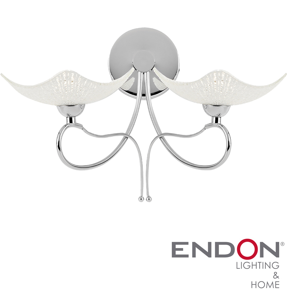 Endon Tiffany Wall Lights : Endon Song 2 Arm Chrome Scavo Glass Wall Light - SONG-2WBCH from Easy Lighting