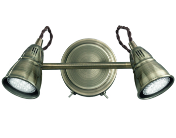 Franklite Rustica 2 Light Switched Wall Spotlight Bronze Finish