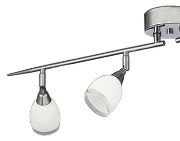 Franklite Lutina 4 Light Bar Spotlight, Chrome Finish With Satin White Glass - SPOT8964