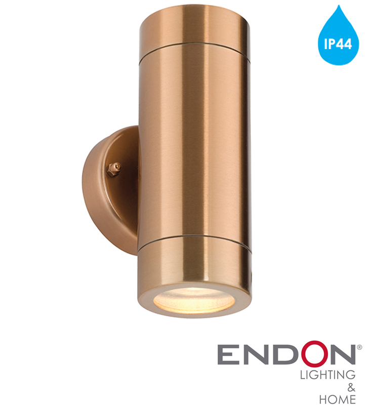 Endon 'Odyssey' IP44 2 Light Outdoor Wall Light, Copper