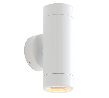 Endon 'Odyssey' IP44 2 Light Outdoor Wall Light, Gloss White Paint & Clear Glass - ST5008W