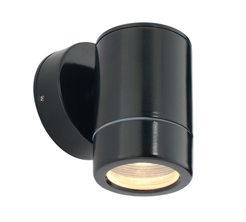 Endon 'Odyssey' IP44 1 Light Outdoor Wall Light, Satin Black Paint & Clear Glass - ST5009BK
