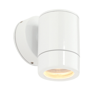 Endon 'Odyssey' IP44 1 Light Outdoor Wall Light, Gloss White Paint & Clear Glass - ST5009W