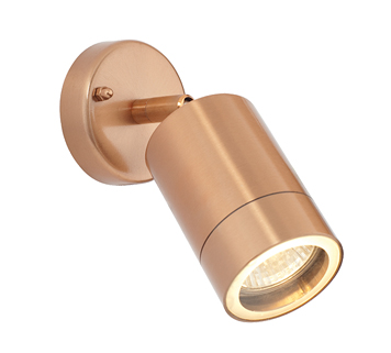 Endon 'Odyssey' IP44 Outdoor Spot Wall Light, Copper Plate & Clear Glass - ST5010C