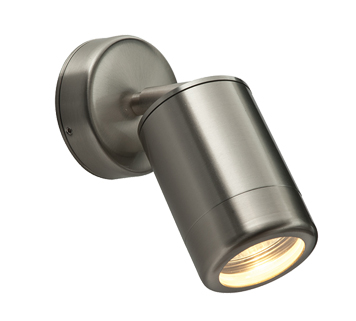Endon 'Odyssey' IP65 Outdoor Spot Wall Light, Brushed Stainless Steel & Clear Glass - ST5010S